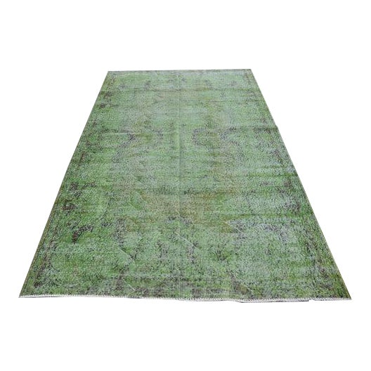 Vintage Handwoven Turkish Green Oushak Carpet - 5′4″ × 9′2″ - Image 1 of 6