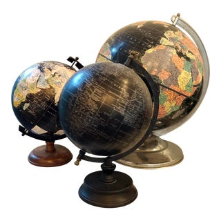 Vintage Black Terrestrial Globes, S/3 For Sale