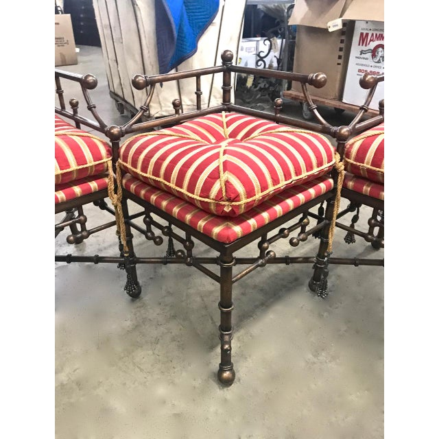 1980s Vintage Faux Bamboo Iron and Brass Bench For Sale - Image 4 of 9