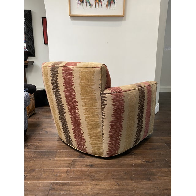Textile Vintage Contemporary Swivel Chair For Sale - Image 7 of 8
