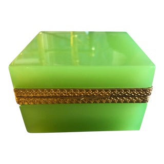 Mid-Century Modern Murano Glass Apple Green Casket For Sale