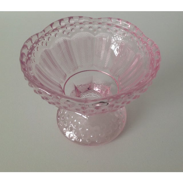 Pink Dome-Lidded Hobnail Candy Dish - Image 6 of 8