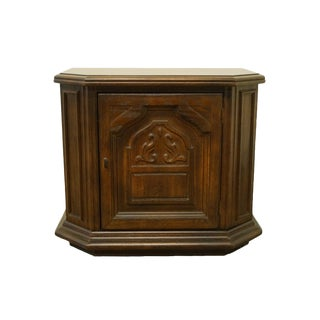 American of Martinsville Walnut Gothic Revival Jacobean Nightstand For Sale