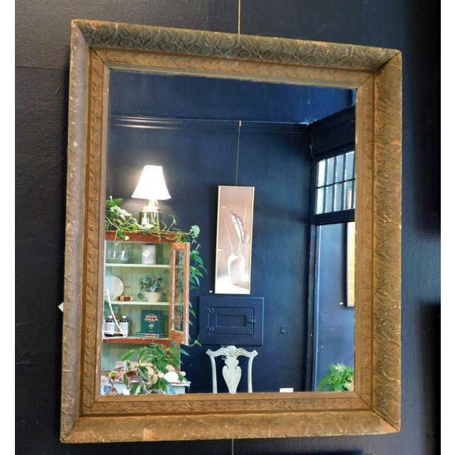 """2 3/4"""" deep x 30"""" wide x 34 3/4"""" tall Circa: 1930's / 1940's This sweet mirror has a antique chipped and Gold color patina..."""