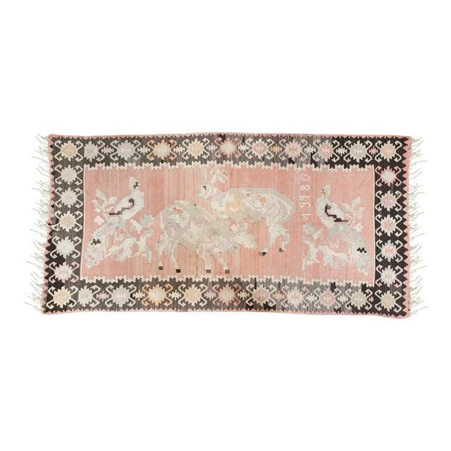 Pink Turkish Kilim Flat-Weave Rug - 3′5″ × 6′9″