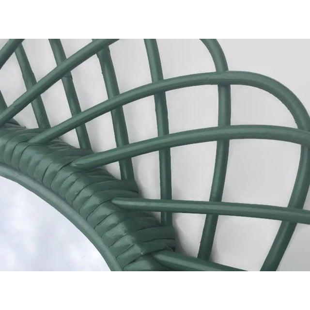 "Mid Century Bent Bamboo Wall Mirror Italian 31"" - Image 4 of 10"
