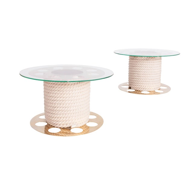 Paco Rabanne Paco Rabanne Round Brass Side Tables, Pair of Two For Sale - Image 4 of 10