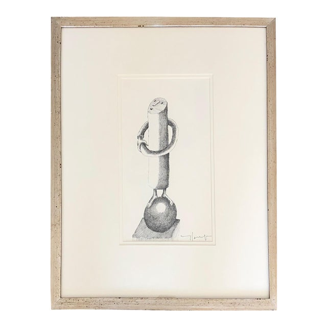 1950s Vintage Jobert Yves French Ink on Paper Drawing For Sale