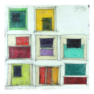 """Gina Cochran """"Places to Be No. 5"""" Original Encaustic Collage Painting"""