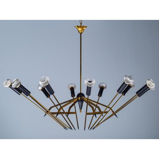 Mid Century Modern Stilnovo Brass Black Fixture Chandelier Circa 1950 For Sale - Image 13 of 13
