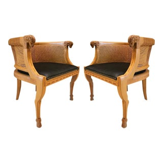 Pair of Neoclassical Style Rams Head Birchwood Bergeres Chairs For Sale