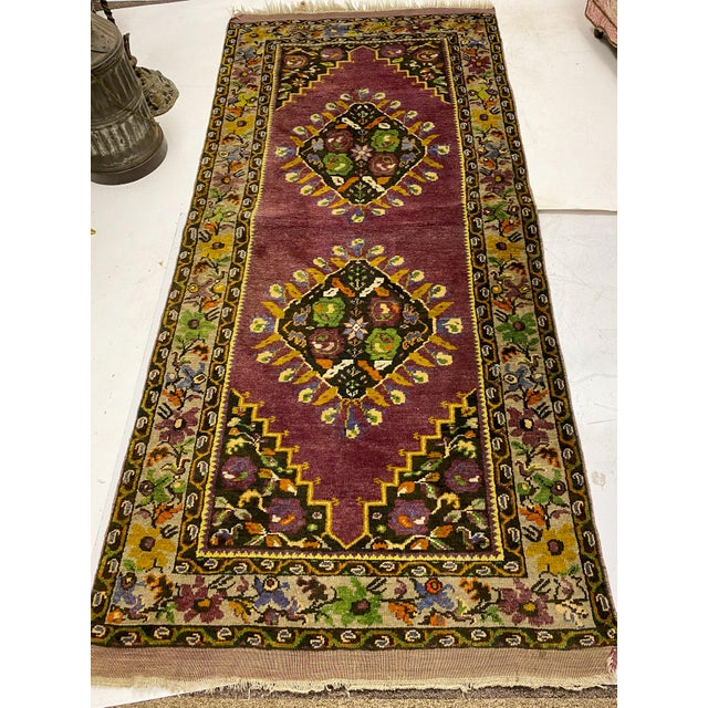 Tehranian Hand Woven Purple Floral Wool Rug For Sale - Image 9 of 9