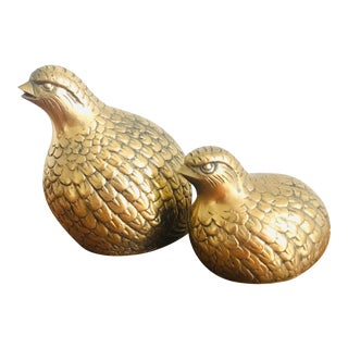 Vintage Mid Century Brass Quail Figurines - a Pair For Sale