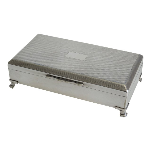 Art Deco English Silver Plate Table Box For Sale
