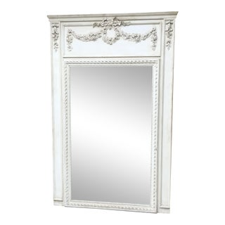 Antique French Provincial Hand Carved Floral Ribbon White Washed Wood Framed Wall Mirror For Sale