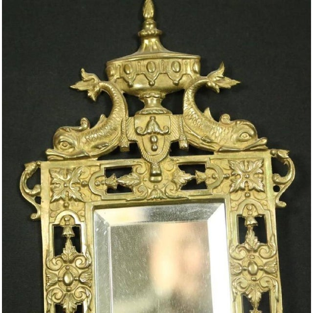 Neoclassical Late 19th Century Vintage Neoclassical Brass & Mirror Candle Wall Sconces- A Pair For Sale - Image 3 of 4