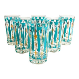 Mid Century Turquoise and Gold Tumblers - Set of 6 For Sale