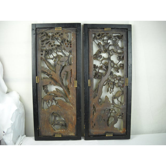Asian Carved Wood Panels - A Pair - Image 8 of 8