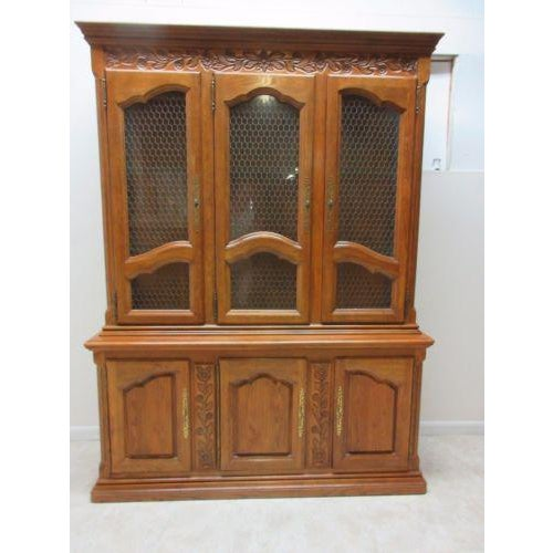 hickory co. country french china cabinet   chairish