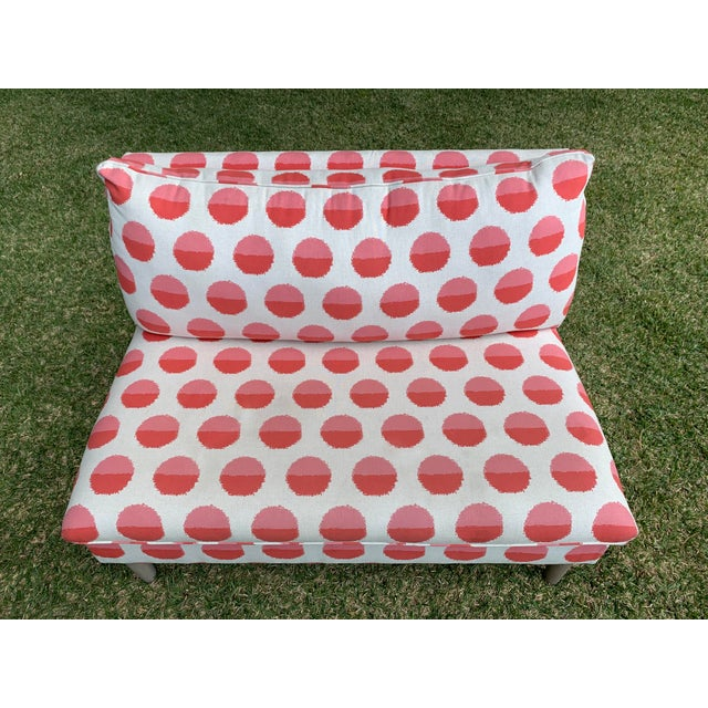 Land of Nod Margot Flamingo Polka Dot Settee For Sale - Image 4 of 12