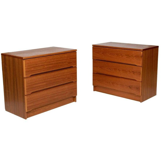 Danish Teak Bachelors Dressers Chests - A Pair For Sale - Image 4 of 4