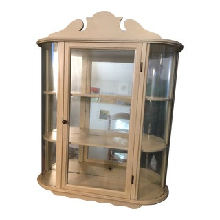 1930s Shabby Chic Charming Wood Curio Cabinet With Mirrored Back For Sale