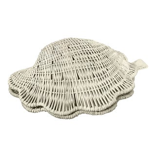 Vintage Wicker Shell Box For Sale