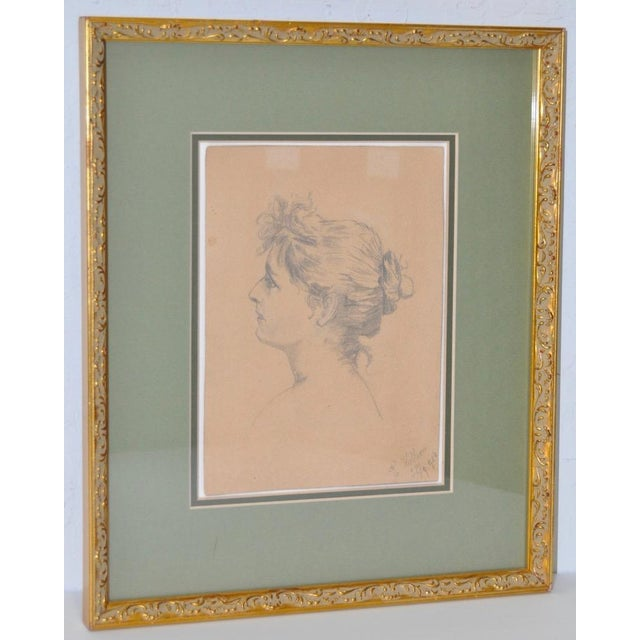 Early 20th Century Pencil Portrait of a Young Woman - Image 2 of 6