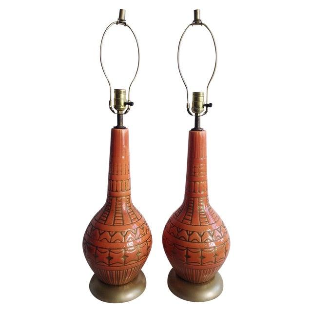 Orange Mid-Century Lamps - A Pair - Image 1 of 4