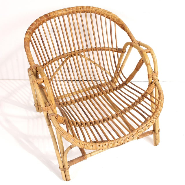 1960s French Rattan Lounge Chairs - A Pair For Sale In San Francisco - Image 6 of 8