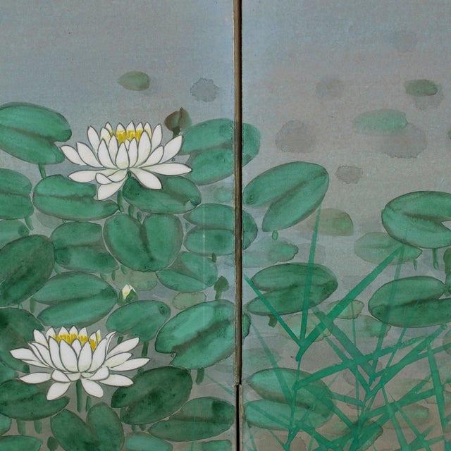 """Egrets Amongst Lotuses"" Byobu Screen For Sale - Image 4 of 5"