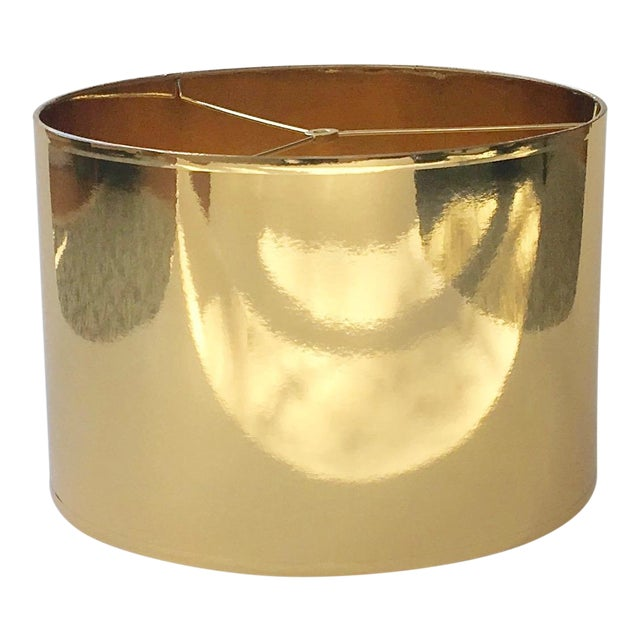 Large Gold High Gloss Drum Lamp Shade For Sale