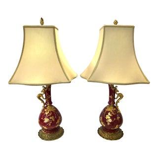 Antique Italian Porcelain Ewers Converted Lamps - A Pair