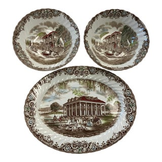 1960s Heritage Hall French Provincial & Southern Plantation Ironstone Serving Set - 3 Pieces For Sale
