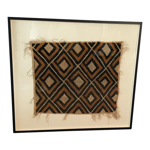 Antique African Diamond Pattern Kuba Cloth Tapestry in Custom Frame For Sale
