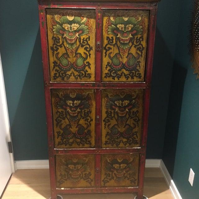 Antique Tibetan Hand-Painted Six Door Cabinet - Image 2 of 9