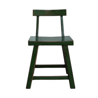 Distressed Grass Green Short Chair Wood Stool With Back For Sale