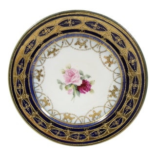 Antique Cobalt & Gold Gilt Moriage Hand Painted Pink Rose Motif Nippon Plate