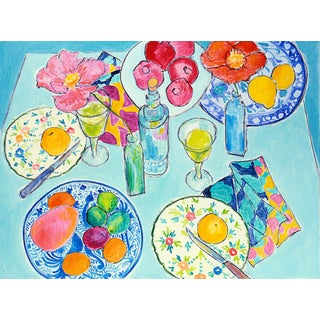After Dinner L.A Framed Fine Art Giclée Canvas Print For Sale