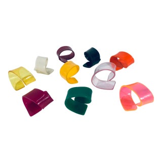 Brazilian Modern Multi Colored Lucite Napkin Rings, 1950s - Set of 10 For Sale