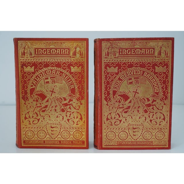 Metal Antique 19c Decorator Books - Red With Gold Embossing For Sale - Image 7 of 8