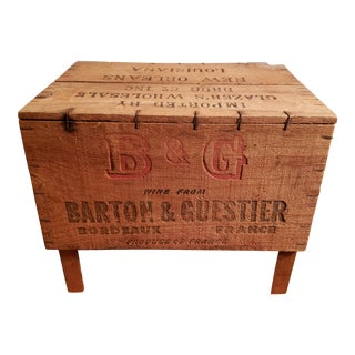 1930s New Orleans Barton & Guestier French Bordeaux Wine Wooden Shipping Crate/Stool For Sale