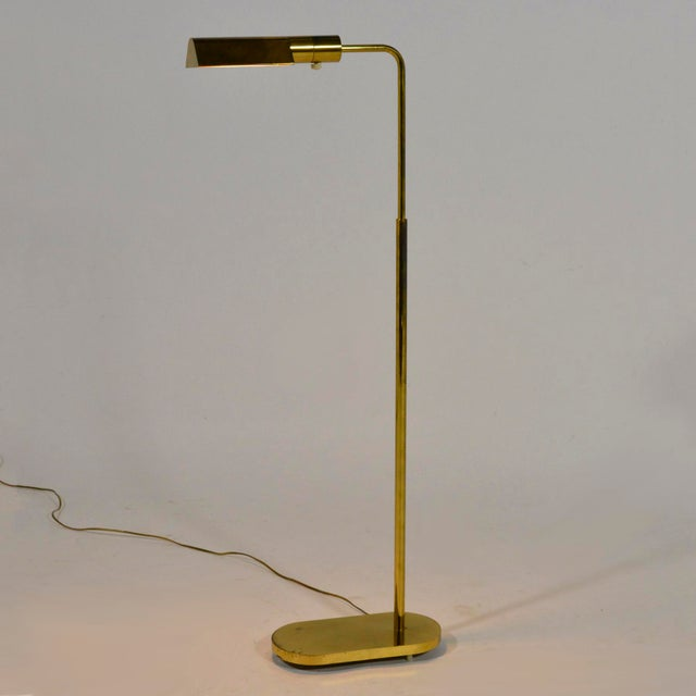 Casella Adjustable Brass Pharmacy Floor Lamp For Sale In Chicago - Image 6 of 11
