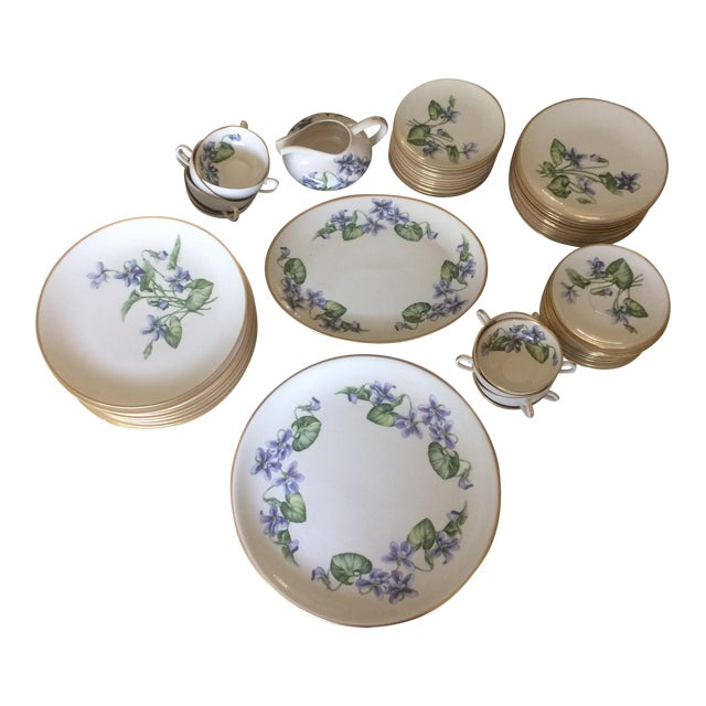 Vintage Franciscan China Olympic with Purple Violet Flowers - Set of 12 - Image 1 of 7