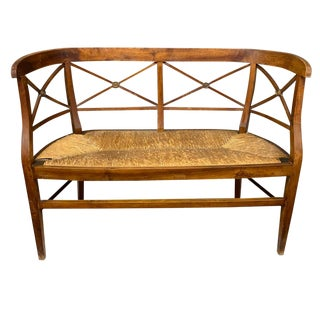 Antique Hand Made Rush Seat Wood Bench For Sale