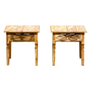 Reclaimed Solid Peroba Wood Handmade Side Table Eco-Friendly-The Pair For Sale