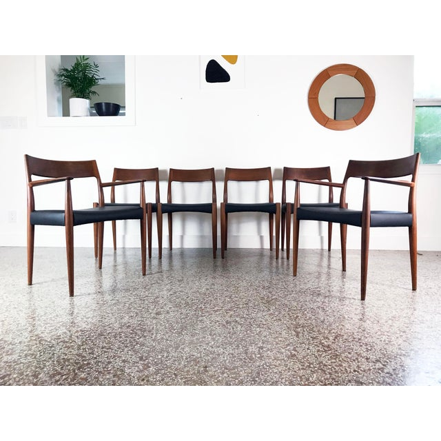 1960s Vintage Arne Hovmand Olsen Danish Teak Dining Chairs - Set of 6 For Sale - Image 10 of 12