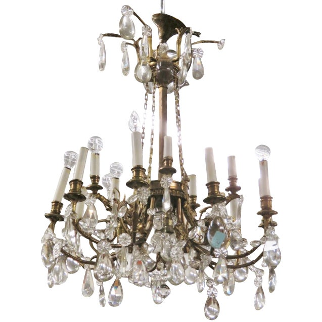 French Style Bronze & Crystal Chandelier - Image 1 of 4