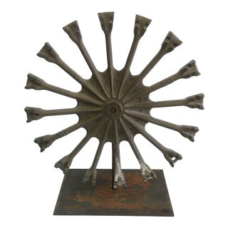 Rustic Steel Gear Sculpture For Sale