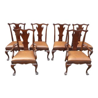 Chinese Chippendale Ralph Lauren Leather Dining Chairs - Set of 6